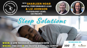 Sport Performance Speaker Series SPSS -190926 - Sharleen Hoar & Liz Johnson - Sleep Solutions