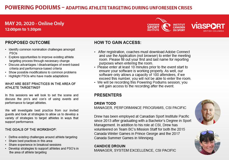 Powering Podiums - Adapting Athlete Targeting During Unforeseen Crises