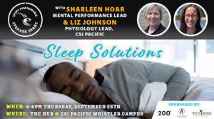 Sport Performance Speaker Series SPSS -190926 - Sharleen Hoar & Liz Johnson - Sleep Solutions